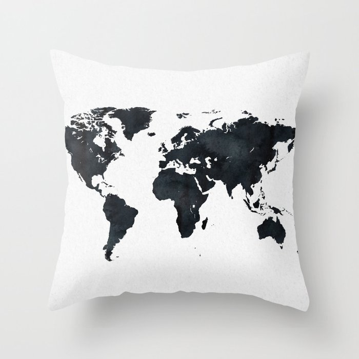 World Map in Black and White Ink on Paper Throw Pillow