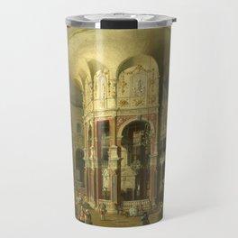 London, Interior of the Rotunda at Ranelagh by Canaletto Travel Mug