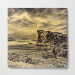 Volcanic Reef ..... Hand Painted Photograph Metal Print