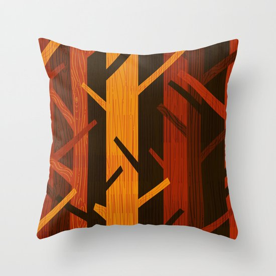 Retro Fall Woods by Friztin Throw Pillow