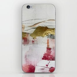 Untranslated Stars: a minimal, abstract piece in gold, pink, and white by Alyssa Hamilton Art iPhone Skin