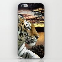 novelty iPhone & iPod Skins featuring Sunset Tiger by Moody Muse