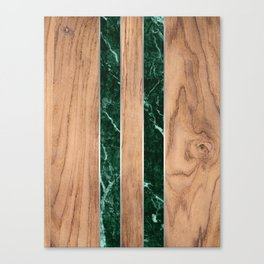 Wood Grain Stripes - Green Granite #901 Canvas Print