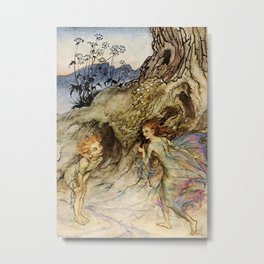 """Puck and a Fairy"" by Arthur Rackham Metal Print"