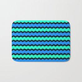Aqua and Blue Sawtooth Pattern Bath Mat
