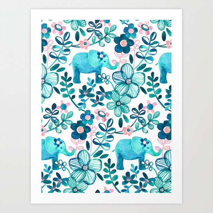 Dusty Pink, White and Teal Elephant and Floral Watercolor Pattern Kunstdrucke