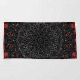 Red and Black Bohemian Mandala Design Beach Towel