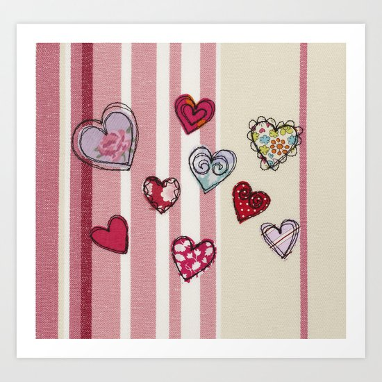 Embroidered Heart Illustration Art Print