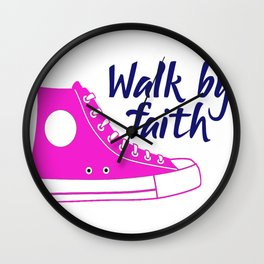 Religious Walk By Faith Pink Sneaker Wall Clock