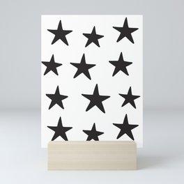 Star Pattern Black On White Mini Art Print