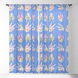 easter sphynx on blue Sheer Curtain