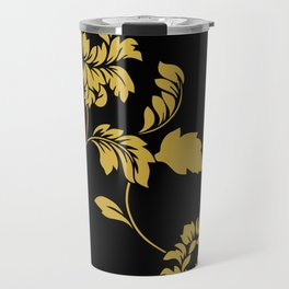 Victorian Floral (Black & Gold) Travel Mug
