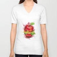 burger V-neck T-shirts featuring burger by JBdesign
