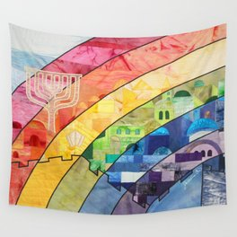 Rainbow over Jerusalem (2) Wall Tapestry
