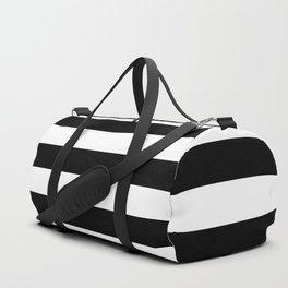 Large Black and White Horizontal Cabana Stripe Duffle Bag