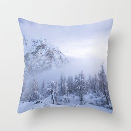 Winter wonderland, fog, spruce forest and mountains Throw Pillow