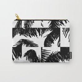 Palm Leaf Pattern Black Carry-All Pouch