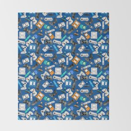 Watercolor Gaming Video Game Devices Pattern Blue Throw Blanket