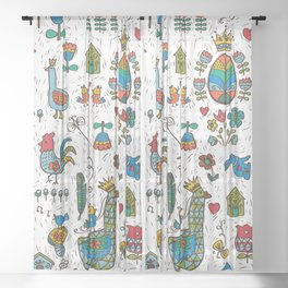 Swedish Folk Art Goose Fable Sheer Curtain