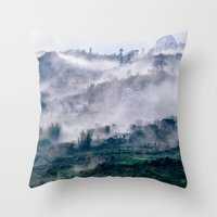 vietnam Throw Pillows featuring Foggy Mountain of Sa Pa in VIETNAM by CAPTAINSILVA