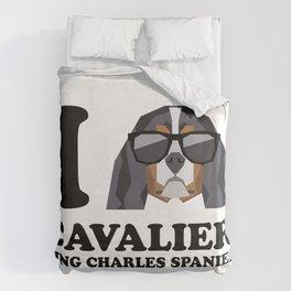 I Love Cavalier King Charles Spaniel modern v1 Duvet Cover