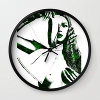 kate moss Wall Clocks featuring Kate Moss by fashionistheonlycure