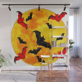 DECORATIVE FULL MOON  FLYING BLACK BATS HALLOWEEN Wall Mural