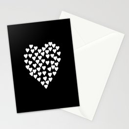 Hearts on Heart White on Black Stationery Cards