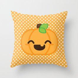 Kawaii Jack O Lantern Pumpkin Throw Pillow