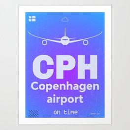 CPH Copenhagen airport blue Art Print