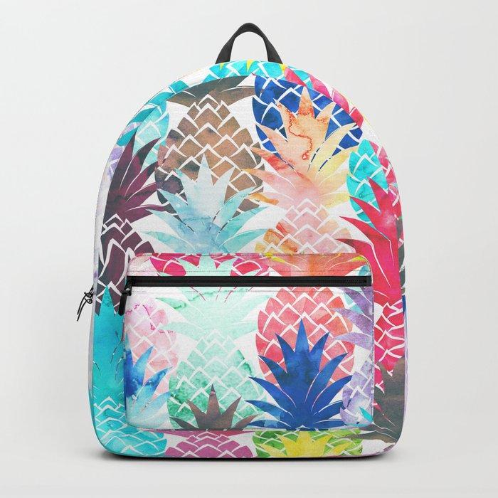Hawaiian Pineapple Pattern Tropical Watercolor Backpack