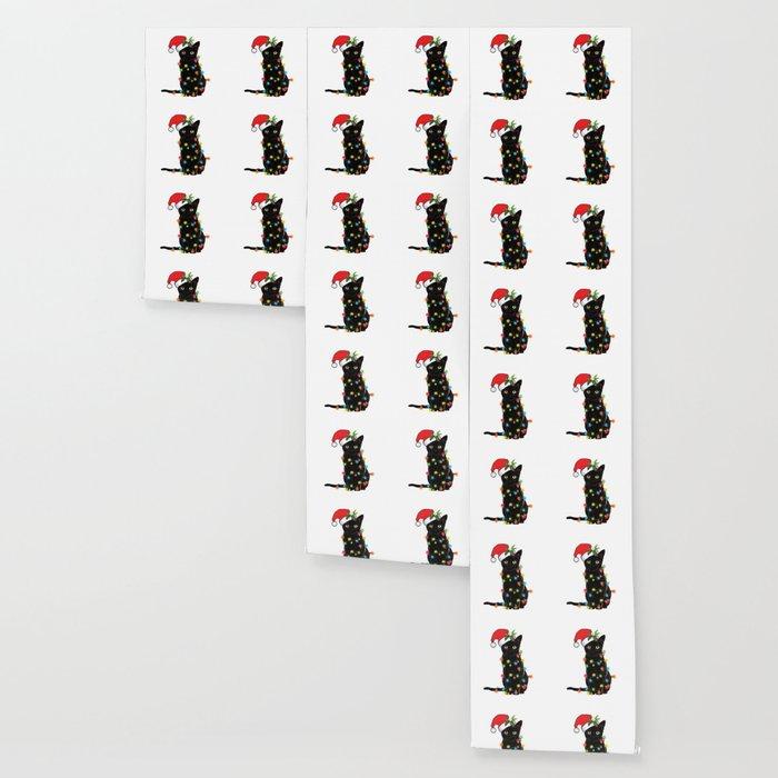 Santa Black Cat Tangled Up In Lights Christmas Santa T-Shirt Wallpaper