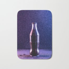 Glass bottle with carbonated drink under the drops of water Bath Mat