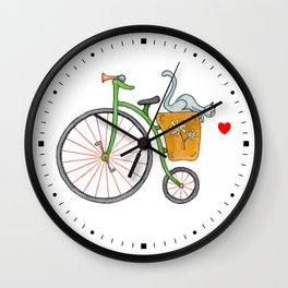 Blue cat on vintage green bicycle Wall Clock