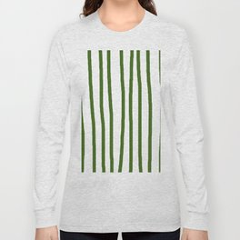 Simply Drawn Vertical Stripes in Jungle Green Long Sleeve T-shirt