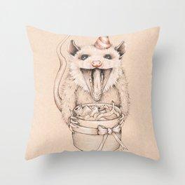 Birthday Possum's Favorite Gift Throw Pillow