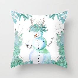 SNOWMAN PARTY ANIMAL Throw Pillow