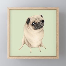 Sweet Fawn Pug Framed Mini Art Print