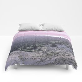 Pink Sunset on Mountains Comforters