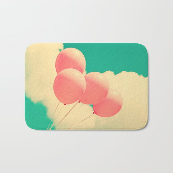 Happy Pink Balloons on retro blue sky  Bath Mat