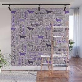 Labrador retriever silhouette and word art pattern Wall Mural