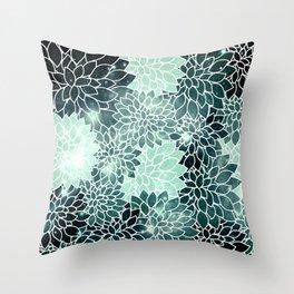 Space Dahlias Spearmint Green Throw Pillow