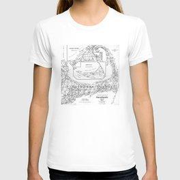 Vintage Cape Cod Cyclist Map (1893) BW T-shirt