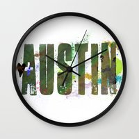 austin Wall Clocks featuring Austin by Tonya Doughty