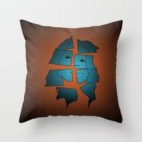 broken Throw Pillows featuring Broken by Charles Emlen