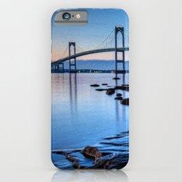 Newport Bridge, Rhode Island - Autumn Twilight Landscape Painting by Jeanpaul Ferro iPhone Case