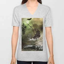 Awesome shipwreck in the sunset Unisex V-Neck