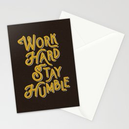 Work Hard Stay Humble hand lettered modern hand lettering typography quote wall art home decor Stationery Cards