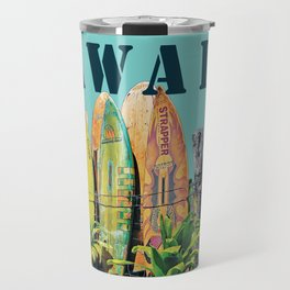 Hawaiian Surfboard Postcard Print Travel Mug