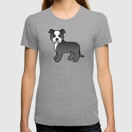 Black And White English Staffordshire Bull Terrier Cartoon Dog T-shirt